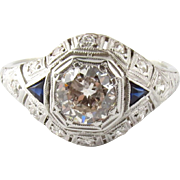 Antique Edwardian Platinum Diamond and Sapphire Dome Ring, Size 8.75