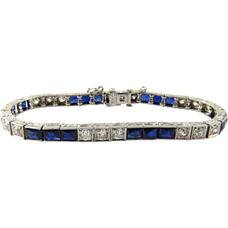Antique Platinum Diamond and Sapphire Bracelet, Size 6