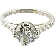 Antique Edwardian Platinum Diamond Engagement Ring, Size 5.5