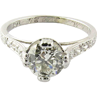 Antique Edwardian Platinum Diamond Engagement Ring, Size 5.5