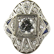 Antique Art Deco Platinum Diamond and Sapphire Domed Ring, Size 3