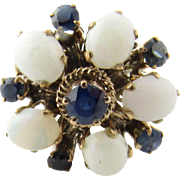 Vintage 14K Yellow Gold Opal and Sapphire Flower Ring, Size 6.25