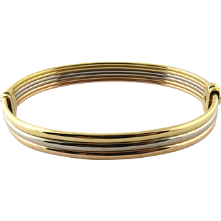 Vintage Cartier 18K Tri Color Gold Bangle Bracelet With Yellow Gold Steel Screwdriver