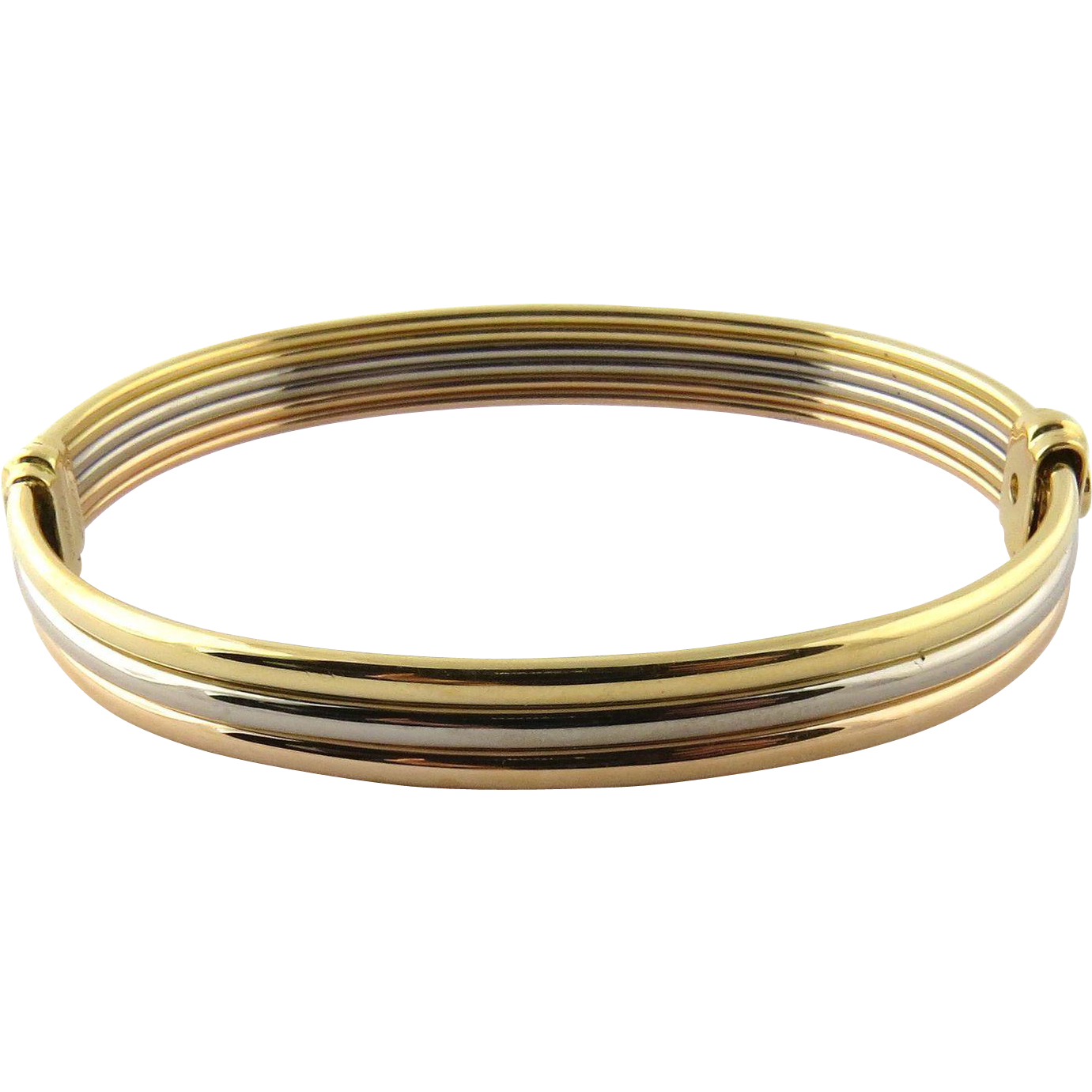 Vintage Cartier 18k Tri Color Gold Bangle Bracelet With Yellow And Silver Brokers Ruby Lane