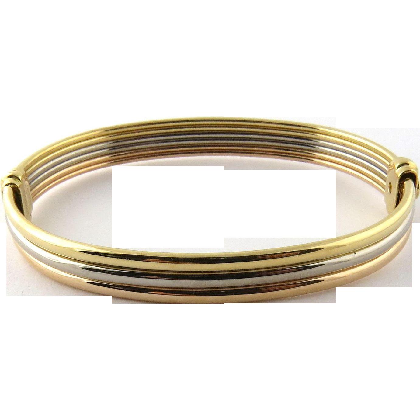 Vintage Cartier 18k Tri Color Gold Bangle Bracelet With Yellow Gold