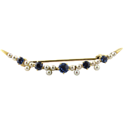 Antique Edwardian 14K Yellow Gold Sapphire and Seed Pearl Crescent Pin Brooch