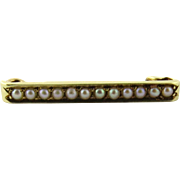Victorian 14K Yellow Gold and Seed Pearl Bar Pin Brooch