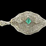 Vintage 14K White Gold Cabochon Emerald Green Glass Stone and Diamond Filigree Pendant / Brooch