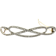 Antique 18K Yellow Gold and Platinum Barrette with Rose Cut Diamonds approximately 2.7 carats