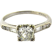 Antique Platinum and Old Miner Diamond Engagement Ring Size 6