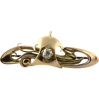 Antique 15K Yellow Gold Georgian Diamond Swirl Pin Brooch with Chatalaine Hook