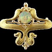 Art Nouveau 14K Yellow Gold Cabochon Opal Pin / Pendant