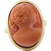 Vintage 14K Yellow Gold Coral Cameo Ring Size 3.25