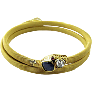 Antique 18K Yellow Gold Flexible Coil Snake Bracelet with Rose Cut Diamonds, Sapphires and Rubies Double Snake Heads