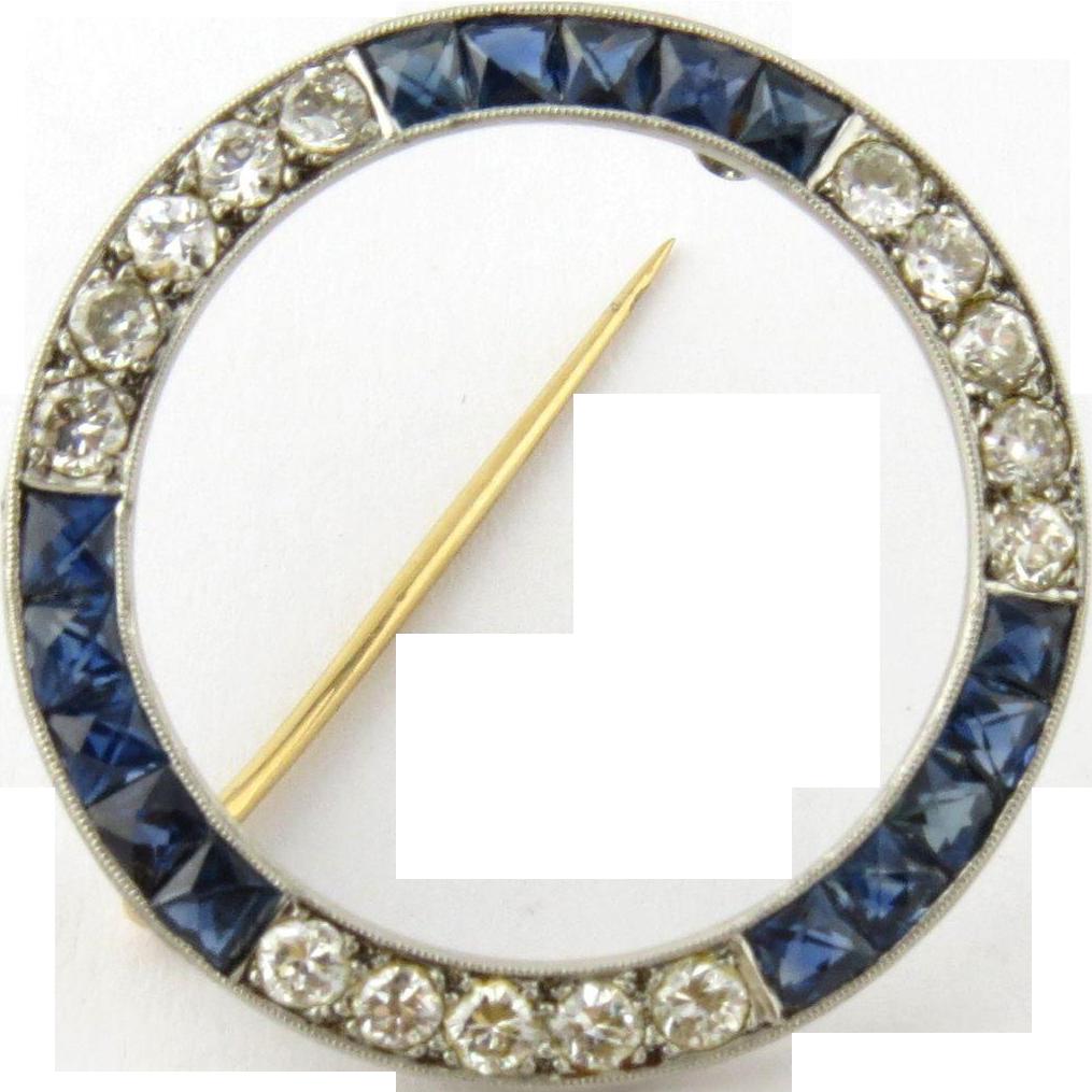 Vintage Platinum Genuine Sapphire And Diamond Circle