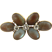 Antique Victorian 14K Yellow Gold Moonstone and Spinel Flower Brooch Pin