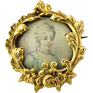 Antique 18K Yellow Gold Hand Painted Victorian Miniature Portrait Brooch Pin
