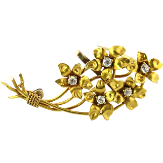 Antique 14K Yellow Gold Diamond Flower Bouquet Brooch Pin