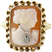 Vintage 10K Yellow Gold Carved Cameo Diamond Ring, Size 7