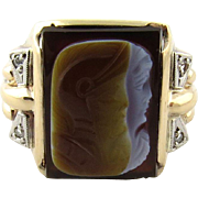 Vintage 10K Yellow Gold Men's Cameo Roman Warrior Ring with Diamonds, Size 9.75