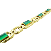Vintage 18K Yellow Gold Green Onyx Etched Link Bracelet 7.25""