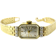 Rolex Ladies 14K Yellow Gold Diamond Vintage Watch Hand Winding Silver Dial
