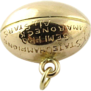 Vintage 14K Yellow Gold Football Charm NY State Semi Pro Champions Mamaroneck All Stars 1926 V.S.M