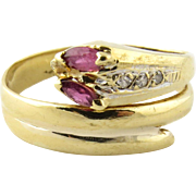 Vintage 18K Yellow Gold Diamond Back Snake Ring with Ruby Eyes Ring, Size 6.5
