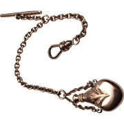Antique 14K Rose Gold Watch Fob Chain with Perfume Bottle