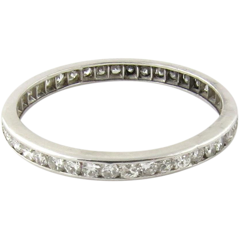 vintage platinum eternity ring channel set