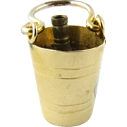 Vintage 9K Yellow Gold 3-D Champagne Bucket with Bottle Charm