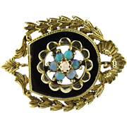 Vintage 14K Yellow Gold Opal and Black Enamel Brooch / Pin / Pendant