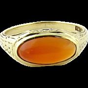 Antique Victorian 10Kt Yellow Gold Bezel Set Cabochon Carnelian Ring Size 5