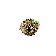 Vintage 18K Yellow Gold Harem Ring Multi Stone Ring Size 6.75