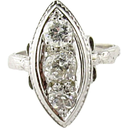 Antique 18K White Gold and 3 Old Mine Diamond Ring with Bow Detail Size 6.5