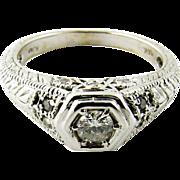 Vintage 14K White Gold Diamond Filagree Ring Size 5.75