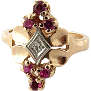Vintage 14K Yellow Gold Red Spinel and Diamond Ring Size 5.75