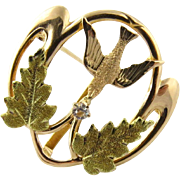 Vintage 14K Yellow Gold Dove of Peace Pin Brooch
