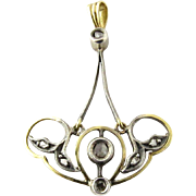 Antique 14K Yellow Gold and Sterling Silver Pendant with 7 Antique Rough Point Cut Diamonds
