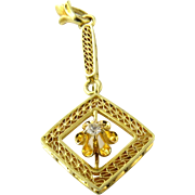 Vintage 14K Yellow Gold and Diamond Floral Pendant
