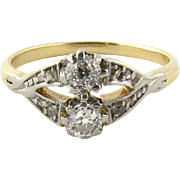 Antique 14K Yellow Gold and Diamond Ring Size 4.75