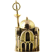Vintage 14K Detailed Yellow Gold 3-D Mosque Charm with Minaret