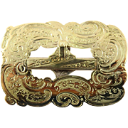 Vintage 1918 14K Gold Floral Scrolled Sash Buckle by W. Bohms