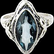 Vintage 14K White Gold Blue Topaz Filagree Ring Size 9