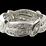 Vintage Platinum Round and Marquis Diamond Wedding Band Size 8.75