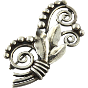 Vintage Tiffany & Co. Sterling Silver Makers Leaf and Berry Pin Brooch