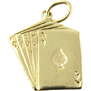 Vintage 14K Yellow Gold Straight Flush Hand of Cards Charm