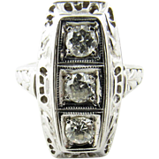 Vintage Art Deco 18K White Gold Diamond Ring .75ct Size 3.75