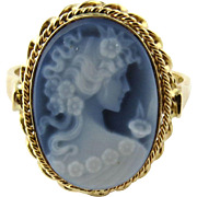 Vintage 14K Yellow Gold Blue Agate Shell Cameo Ring, Size 7.75