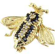 Vintage EMA 14K Yellow Gold Diamond and Sapphire Bee Pin Brooch